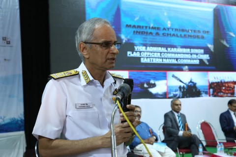 Vice-Admiral Karambir Singh, Commander-in-Chief and Now Naval Cheif and Dr Nakul Parshar, Director, Vijgyan Prasar Addressing the gathering during WOSC-2019.